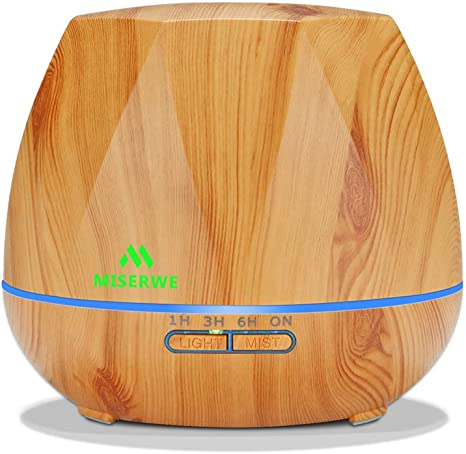 Miserwe 550ML Aromatherapy Essential Oil Diffuser Ultrasonic Aroma Humidifier Adjustable Mist Waterless Auto Shut Off for Home, Office, Bedroom and