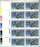 AIRMAIL PLANES ~ COMMERICIAL AVIATION #1684 Plate Block of 10 x 13¢ US Postage Stamps