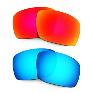 60a6844c38 HKUCO Mens Replacement Lenses For Oakley Triggerman Sunglasses Red Blue  Polarized