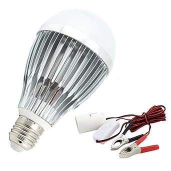 Bonlux 12W 12V E27 Bombilla LED Cool blanco 6000K ES LED Kit de Lámpara Solar con