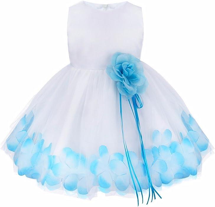 iiniim Vestido de Bebé para Bautizo para Bebé 0 a 24 Meses Vestidos de  Fiesta de Noche con Flores Pétalos Vestido de Ceremonia para Bebés  Cumpleaños 39e6501a58f4