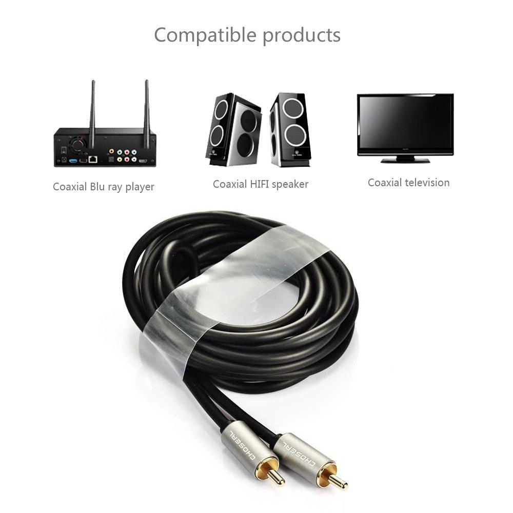 Cable coaxial óptico digital SPDIF chapado en oro de 24 quilates 3m(9.8ft) dorado: Amazon.es: Electrónica