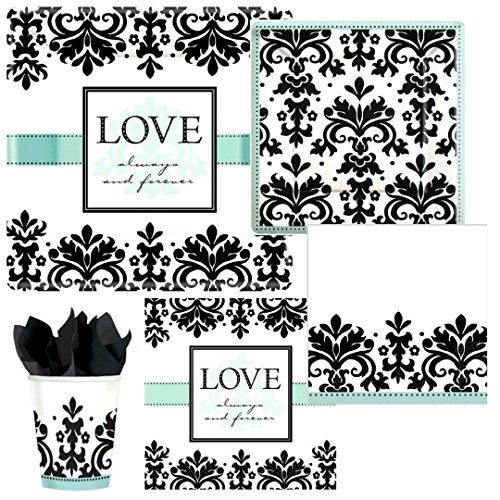 Love Always & Forever Damask Bridal Shower Wedding Party Supply Pack! Bundle Includes Paper Plates, Napkins & Cups for 8 Guests