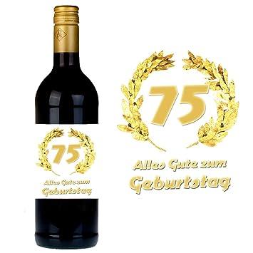 Flaschenetikett Zum 75. Geburtstag Fu0026uuml;r Wein Und Sektflaschen Als  Geschenkidee Zum 75.
