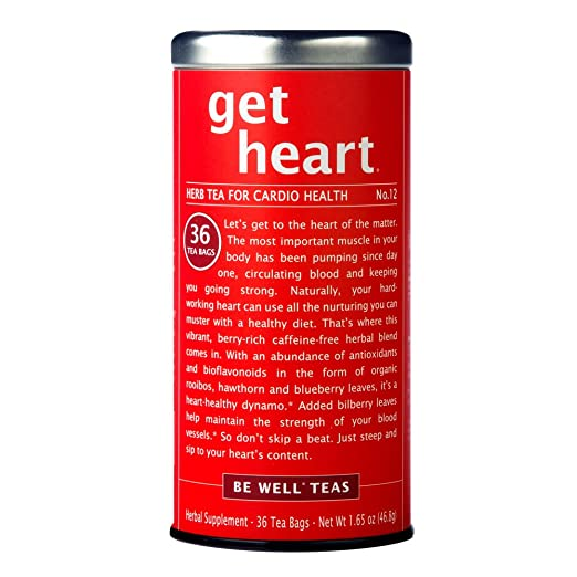 The Republic Of Tea Be Well Red Rooibos Tea - Get Heart - No.12 Herb Tea For Cardio Health, 36 Tea Bag Tin