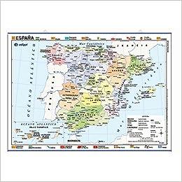 Mapa póster España impreso a doble cara Físico / Político ...