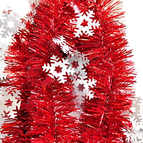 Inverlee 200cm Colorful Glitter Snowflake Garland Ribbon Bar Christmas Tree Decoration Xmas Party Hanging Ornaments (Red)