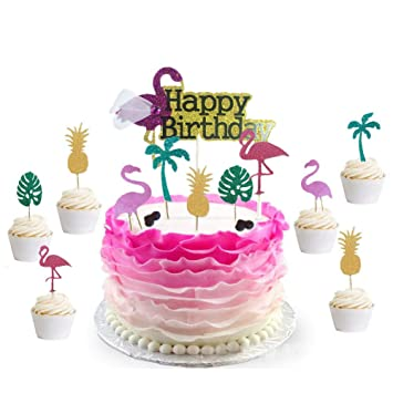 Bozoa 26Pack Luau Cake Toppers Flamingo Birthday ToppersPineapple Coconut Shape