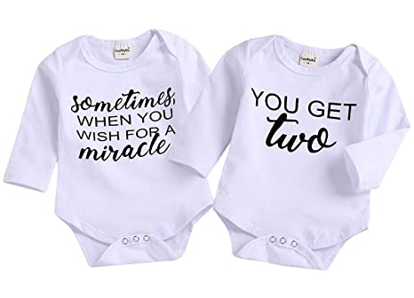 9eb09243a3c76 Mini honey 2Pcs Infant Twins Baby Boys Girls Long Sleeve Letter Print  Romper Bodysuit Summer Outfit Clothes (0-6 Months White1)  Amazon.in  Baby