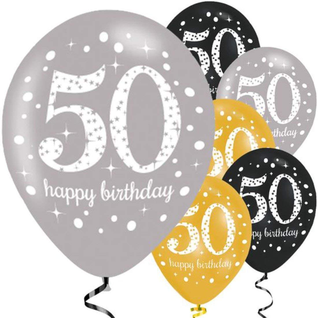 Amscan 9900740 27.5 Inch Celebration 50th Latex Balloons