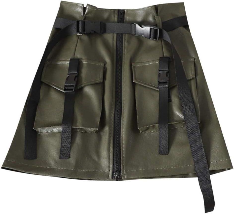 Falda QYYShort Vestido de la Manera 2 PCS Falda de la Flor de la Falda Elegante Cuero de la PU de la Cremallera de Herramientas Una Palabra Falda con cinturón, Tamaño: L (Negro)