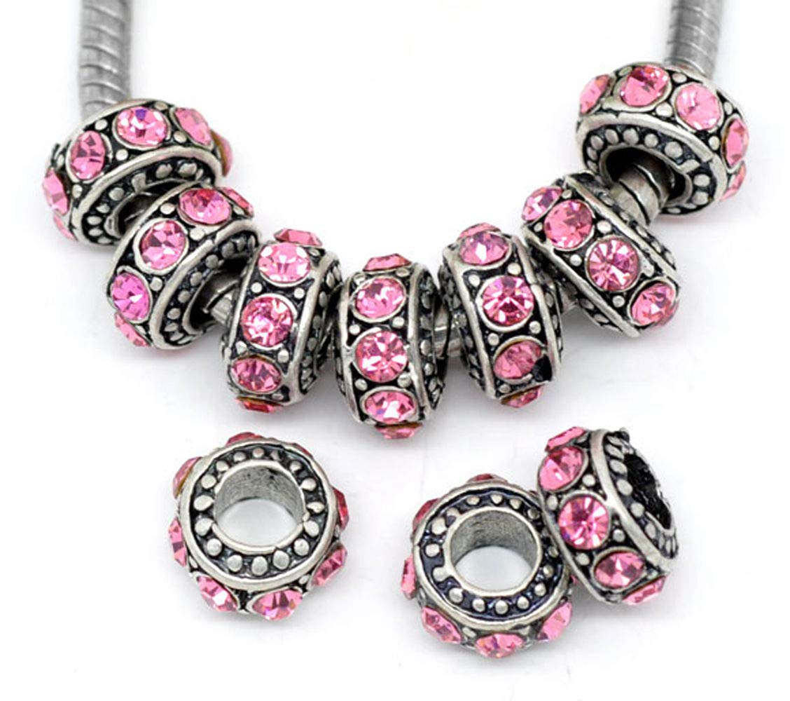Pink Rhinestone October Birthstone Spacer Ring Charm for European Bead Bracelets id-2137