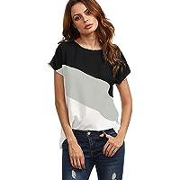 T-shirt Femme, Débardeur d'été Hehem Chemise décontractée à manches courtes Chemises avec blocs de couleurs en mousseline de soie Tunique hauts