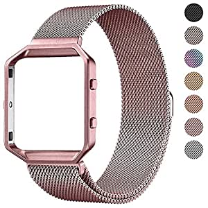 Pugo Top Fitbit Blaze Band Metal Frame Housing and Milanese Loop Stainless Steel Bracelet Strap Band for Fitbit Blaze Smart Fitness Watch – Large – Rose Gold