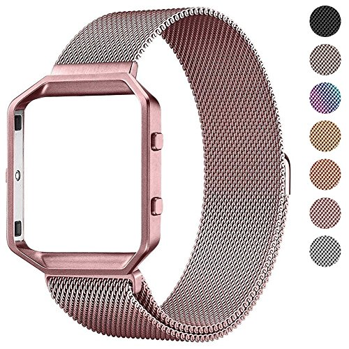 """Fitbit Blaze Bands with Frame, PUGO TOP Stainless Steel Metal Magnetic Milanese Replacement Band for Fitbit Blaze Smart Watch (Rose Pink Milanese Band with Rose Pink Metal Frame, Small: 5"""" - Pink Metal"""