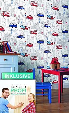 Papier peint chambre d\'enfant voitures Bus Camion Ville -   Belle ...
