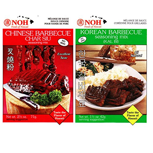 NOH Combo Pack, Chinese Barbecue (Char Siu), 2.5-Ounce Packet, (6 Packets) and Korean Barbecue (Kal Bi), 1.5-Ounce Packet, (6 (Turkey Teriyaki Marinade)