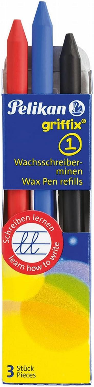 Pelikan Griffix 723387 - Juego de 3 lápices de cera, bloques de cera, estuche con gotas de cera: Amazon.es: Oficina y papelería
