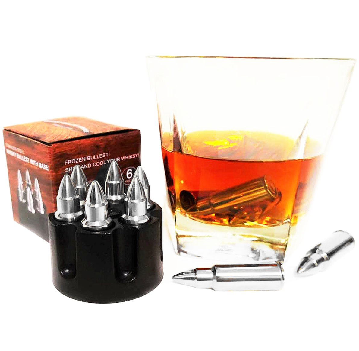 Silver Bullet Whiskey Stone With Base, Set of 6 Stainless Steel Wine Chiller Reusable Ice Cube Bar Tool Set, Best Gift Set for Father's Day (silver) by NEWDUS