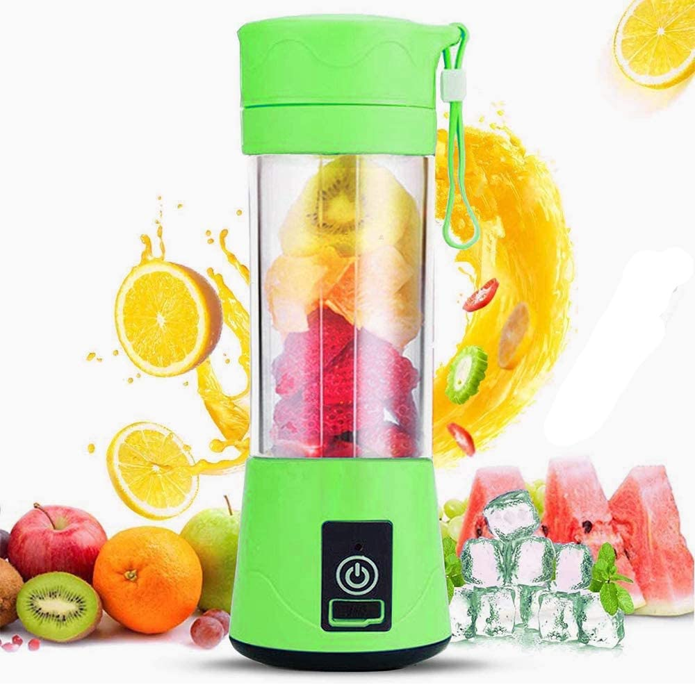 USB Portable Blender, Cordless Personal Blender Juicer, Personal Size Smoothies and Shakes, Fruit Juice mixer with 6 Blades, 380ml Water Bottle for Sports,Gym,Travel,Home Outdoor and Office (Green)