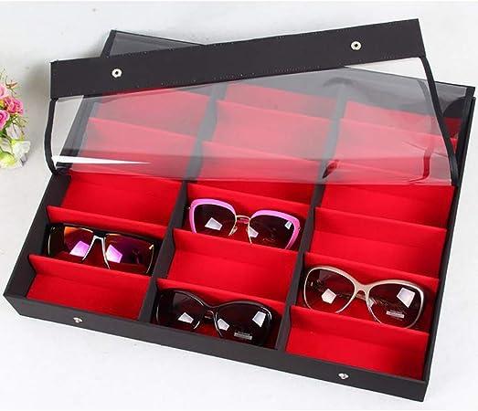 Lineary Estuche de Gafas de Sol 18 Gafas Caja de presentación Cubierta Transparente Gafas Caja de Almacenamiento Gafas de Sol Estante de exhibición Caja de Gafas (Color : Rojo): Amazon.es: Hogar