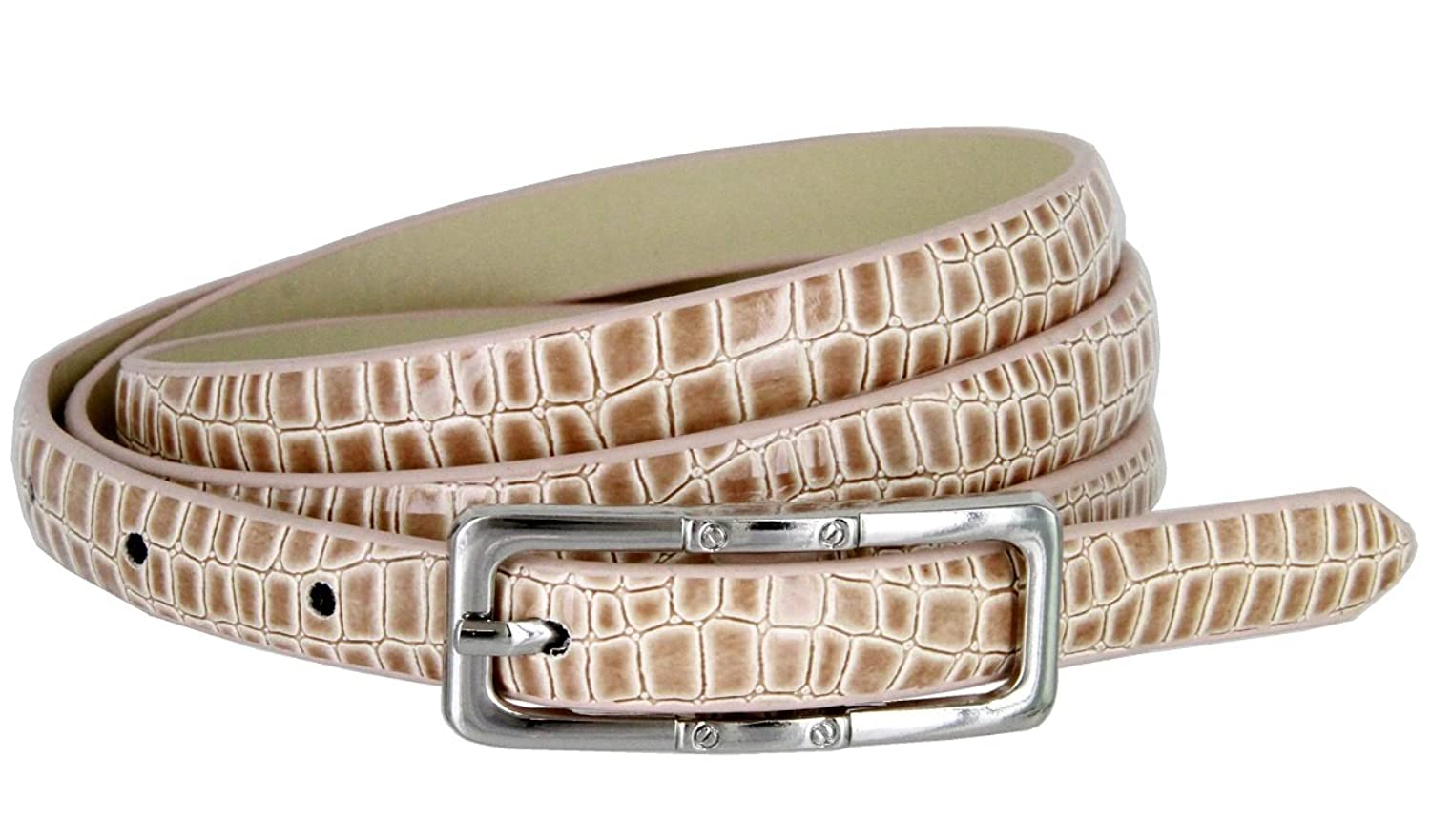 Skinny Alligator Embossed Leather Casual Dress Belt with Buckle for Women 7015 (Tan, Medium)