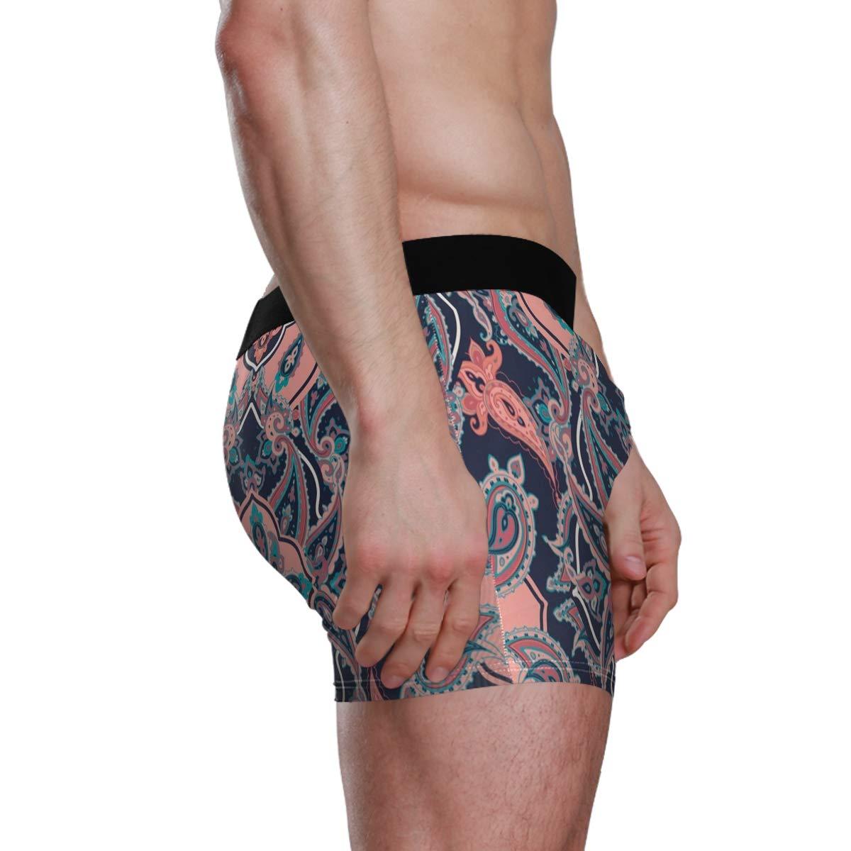 Vipsk Seamless Stretch Mens Polyester Boxer Briefs Underwear 1-Pack Set Chinese Patterns
