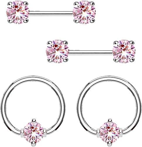 Body Piercing Earring Nipple Click Hoop CZ Nipple Ring Hoop Body Jewelry Nipple Earring Surgical Steel Nipple Piercing