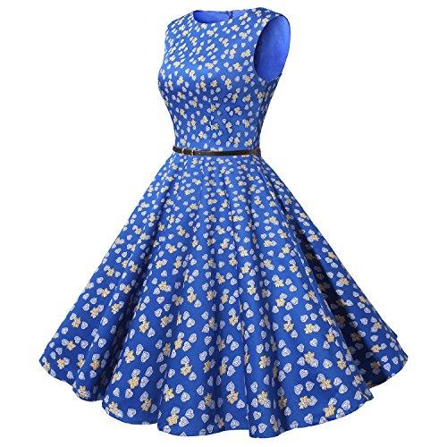 Cocktail Bbonlinedress Retro Dress Rockabilly Swing Party Women's Leaves Royalblue 1950s Vintage ZZ0OrRAq