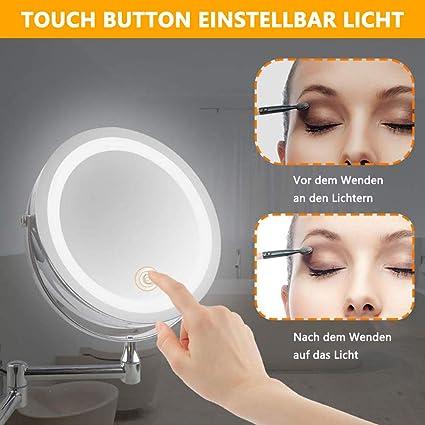 15,2 cm Kosmetikspiegel beleuchtet Edelstahl LED-Klappspiegel 1-//10-fache Vergr/ö/ßerung doppelseitig