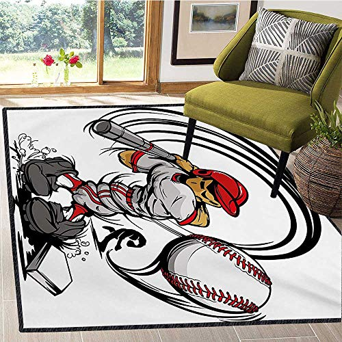 Teen Room, Area Rug Nonslip Pads, Baseball Cartoon Style Player Hitting The Ball Boys Kids Caricature Print, Children Kids Nursery Rugs Floor Carpet 6x9 Ft Grey Red White