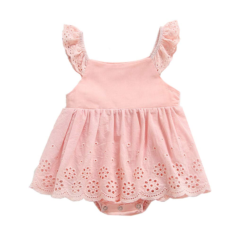 Baby Girl Romper Jumpdress Kids Summer Solid Flower Cutout Princess Sunsuit Outfits Dress Clothes 0-2 years (12-18 Months, Pink)