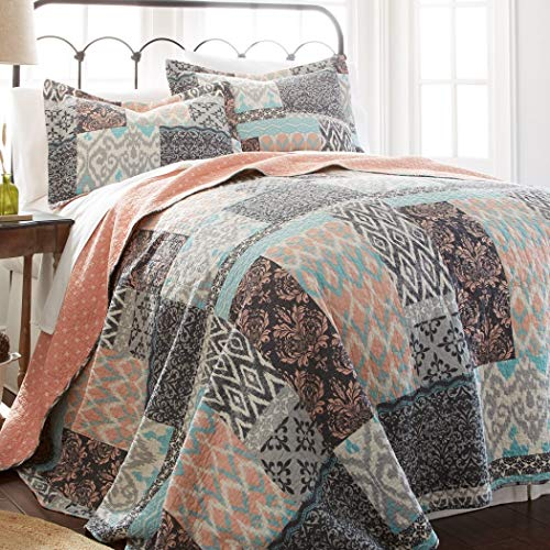 un 3 Piece Girls Teal Blue Coral Pink Patchwork Quilt Full Queen Set, Tribal Ikat Bedding Squares Pattern Florals Southwest Native American Lightweight, Reversible Solid Color, Cotton Polyester