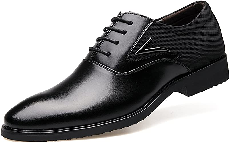 New Mens Leather Comfort Dress Formal Oxford Tie Shoes Black
