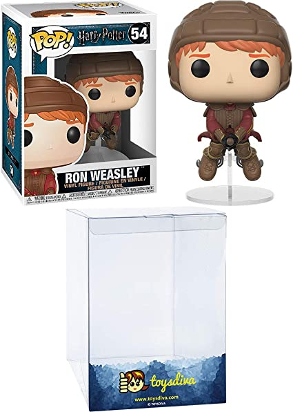 Ron Weasley [on Broom]: Funk o Pop! Vinyl Figure Bundle with 1 Compatible ToysDiva Graphic Protector (054 - 26721 - B)