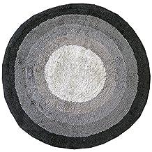 100% COTTON Round Bath Mats - Bathroom Washable Mat ( Towel Like ) Black ( grey ) ( small non slip mats ) 65cm Diameter