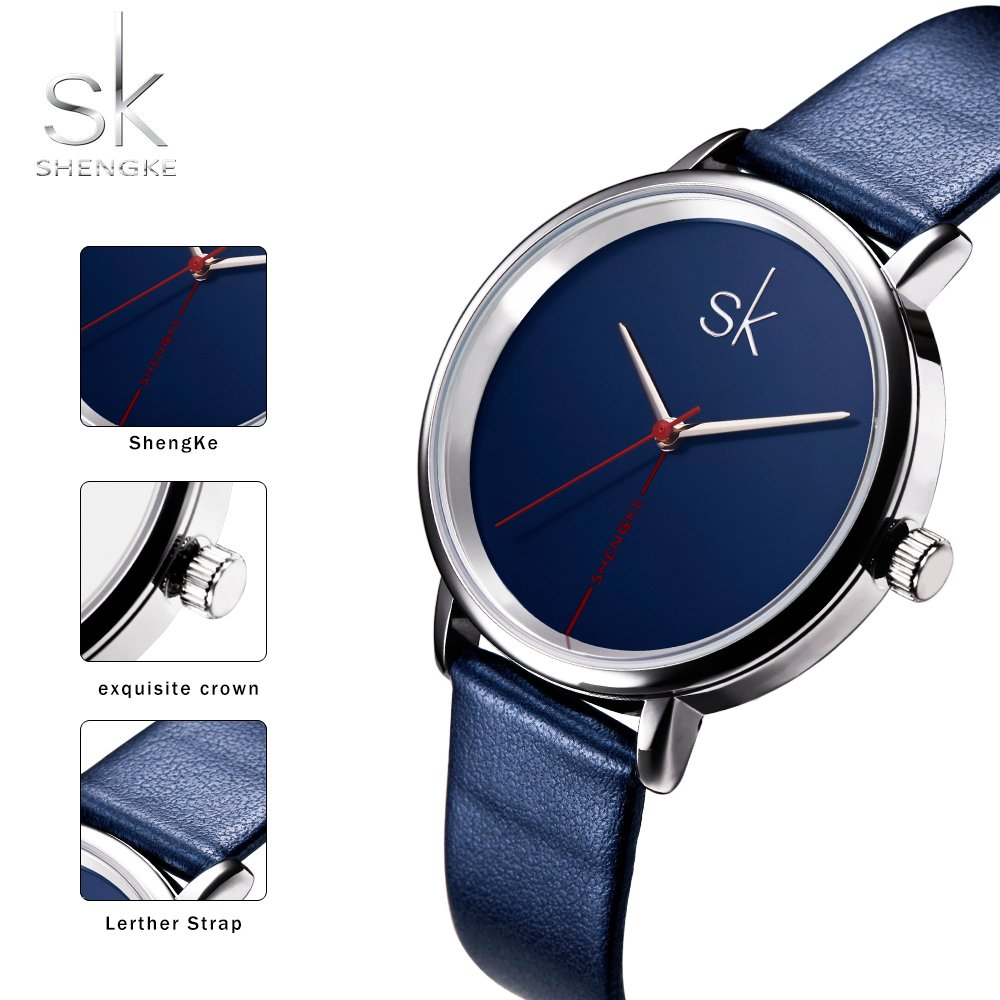 Amazon.com: Shengke Fashion Black Women Watches 2017 Ultra Thin Quartz Watch Woman Elegant Dress Ladies Watch Montre Femme SK (Silver case&Blue Strap): ...