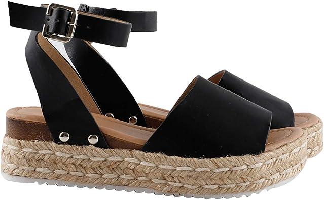 Amazon.com | Gnpolo Womens Espadrille Wedge Sandals Platform Sandles Summer  Buckle Casual Flatform Shoes | Platforms & Wedges