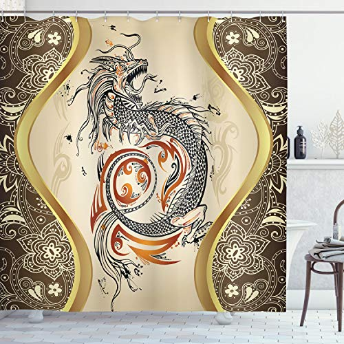 Ambesonne Dragon Shower Curtain, Oriental Motifs Composition with Serpent Beast Mythological Element Folklore Design, Cloth Fabric Bathroom Decor Set with Hooks, 70