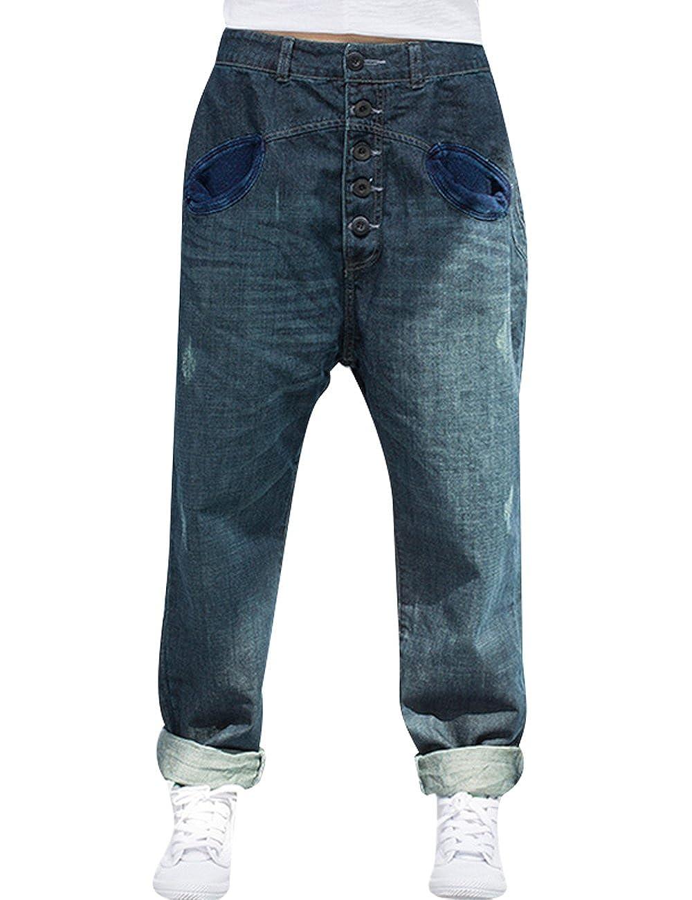 Youlee Donna Elastico in Vita Harem Pantaloni Cotone Jeans