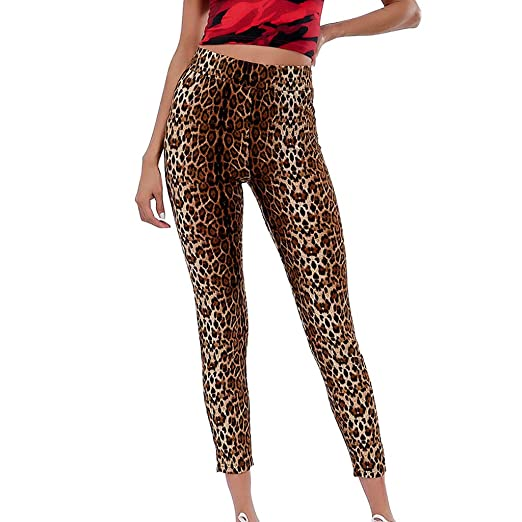 47370bb918d0 Women s High Waist Yoga Pants Printed Full Length Tummy Control Soft Workout  Running Leggings (Brown