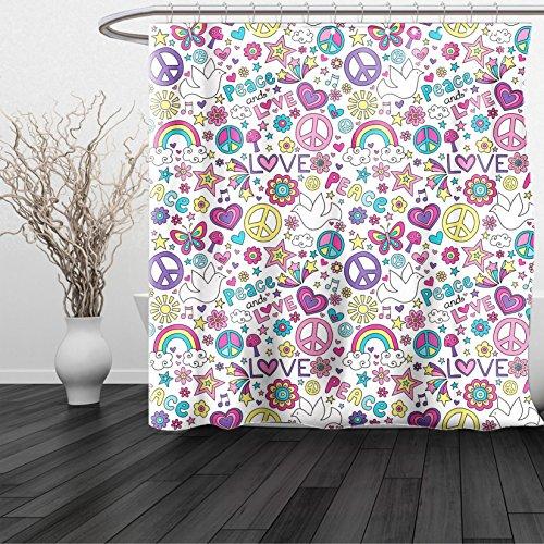 HAIXIA Shower Curtain Doodle Retro Symbols of Sixties Peace Magic Mushroom Love Stars and Hearts Hippie Music Multicolor