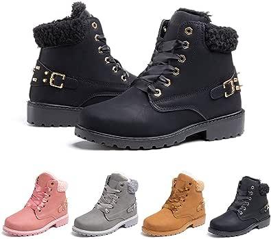 Botas Mujer Invierno Nieve de Cuero PU Zapatos Planas Calentar Piel Forro Cordones Botas Senderismo Snow Boots Outdoor Negro Caqui Gris Rosa 36-43 EU