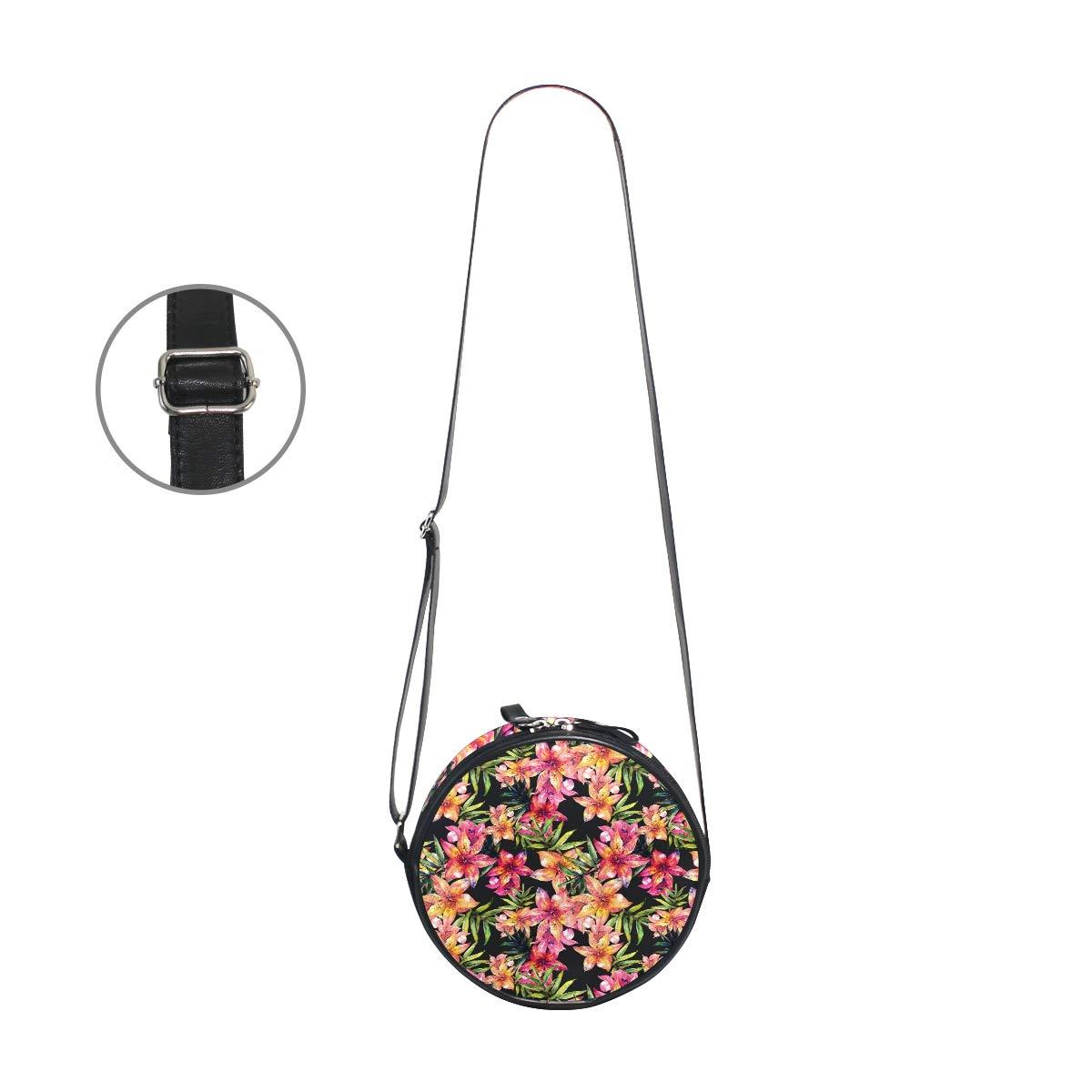 KEAKIA Lily Flowers Pattern Round Crossbody Bag Shoulder Sling Bag Handbag Purse Satchel Shoulder Bag for Kids Women