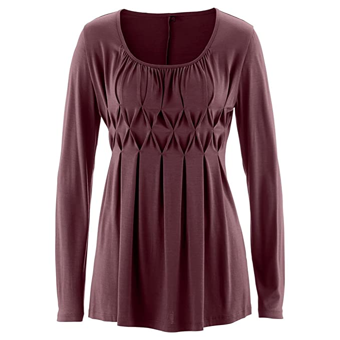 Hibote Camiseta Mujer Slim Fit Camisa - Top Mujeres Mangas Largas Túnica Blusas Largas de Color