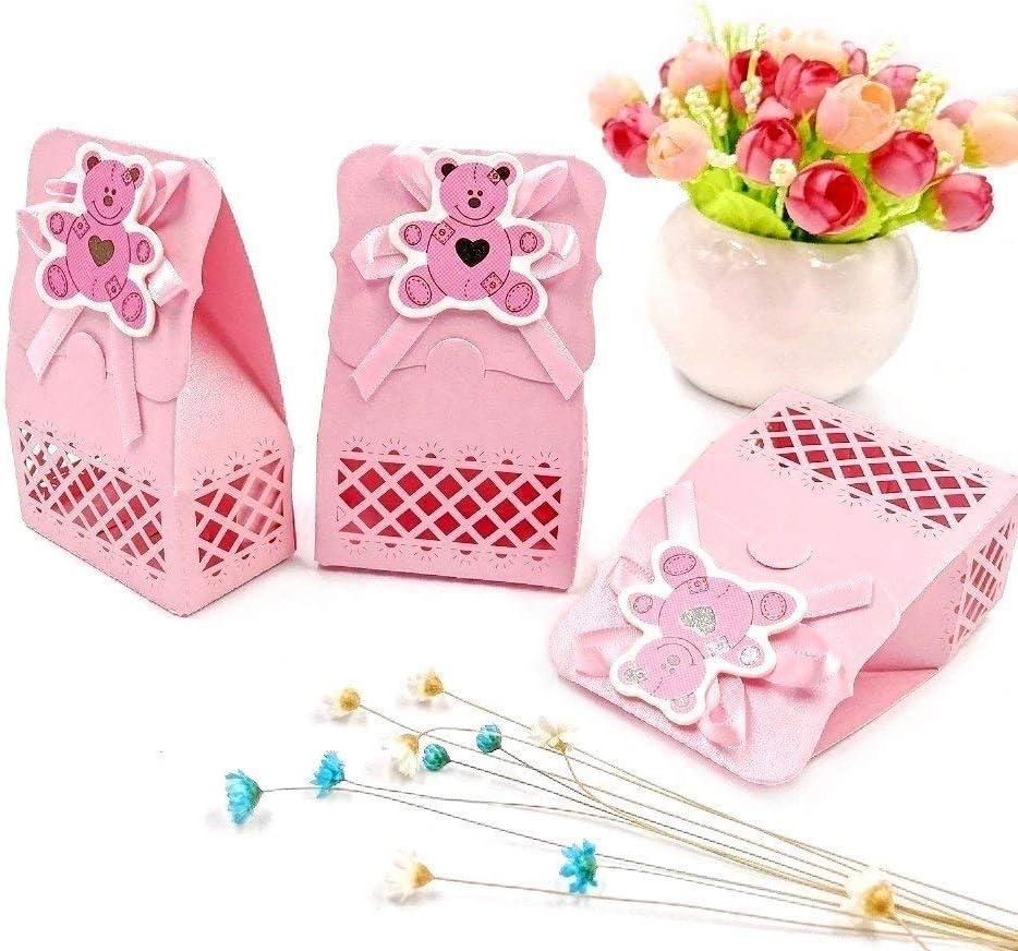 JZK 24 x Rosa Baby Shower Cajas Botella Favor cajitas Regalo Bolsa Dulce para Bebe niños Bautizo Bautismo Boda cumpleaños Navidad