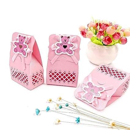 JZK 24 Rosado baby shower favor bolsa caja niña caja dulce para fiesta cumpleaños niña bautizo