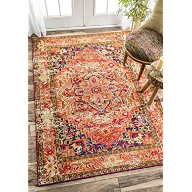 Traditional Flower Medallion Orange Area Rugs, 5 Feet 3 Inches By 7 Feet 7 Inches (5' 3  x 7' 7 )