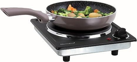 Placa de cocina portátil de camping con 5 niveles (placa de cocción eléctrica, placa de cocción de 18,5 cm, potencia de 1500 W, portátil, termostato, ...