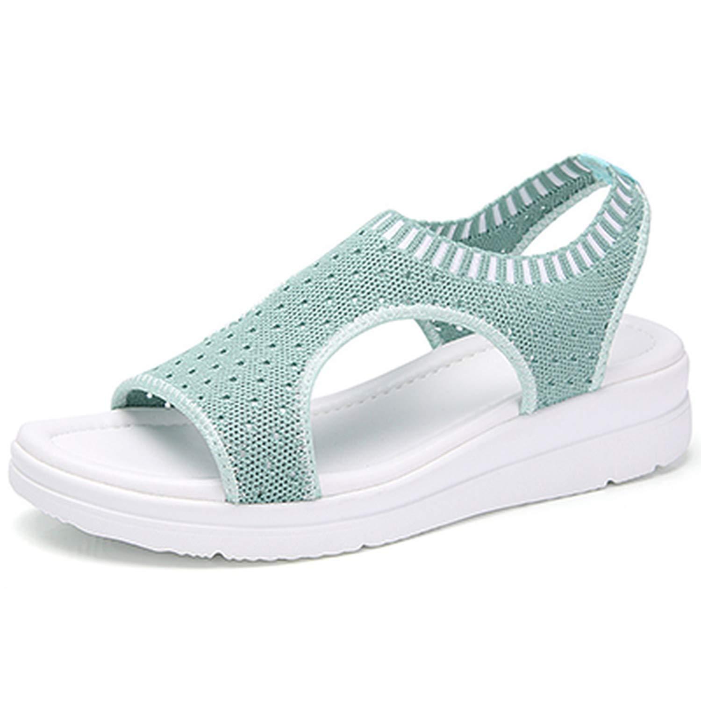 Green Zeuow Fashion Women Sandals Breathable Comfort Shopping Ladies Walking shoes Summer Platform Black Sandal